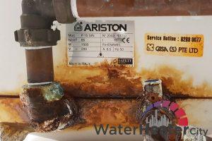 rusty-ariston-storage-water-causes-of-water-heater-leaks-ariston-water-heater-city-singapore